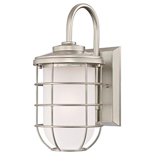 Brushed Nickel 1 Light Outdoor Wall Light Fixture