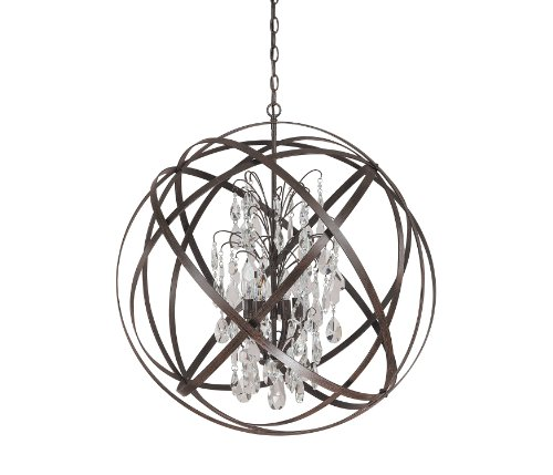 Capital Lighting 4236Rs Cr Axis 6 Light Pendant  Russet Finish With Clear Crystal Accents