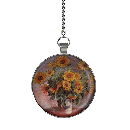 Gotham Decor Monet Sunflowers Ceiling Fan/Light Pull Pendant with Chain