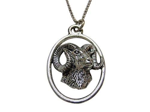 Ram Head Large Oval Pendant Necklace