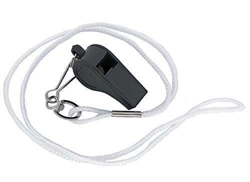Cannon Sports Hi-Impact Plastic Whistle with Lanyard, White