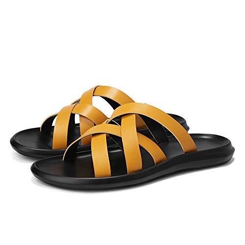 de del el Verano Sharon de otoño Hombres la Desgaste de Yellow la de Antideslizante de los Zhou de Zapatillas para Ligera Verano del Primavera Deporte Personalidad Cuero Zapatillas Conveniente EEOArq1