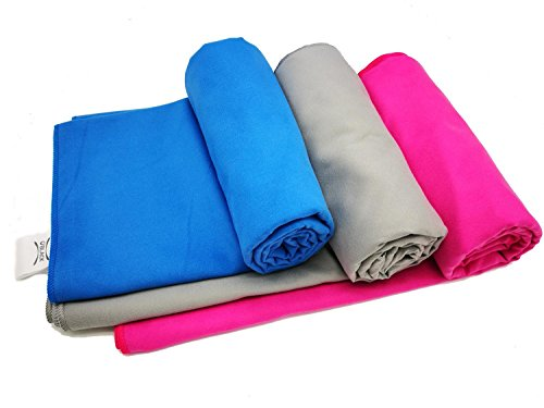 O'BLACK Soft Microfibre Towel Quick Dry Sports Travel Towel Compact and Lightweight with Storage Bag (Grey,L)