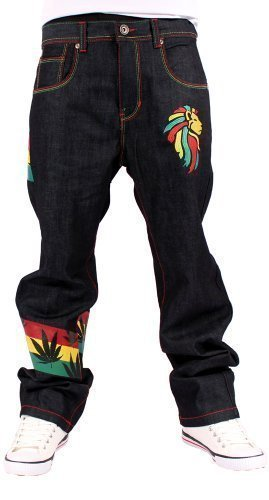 Money Talks Men's Rasta One Love Loose Fit Jeans W42-L34 Black