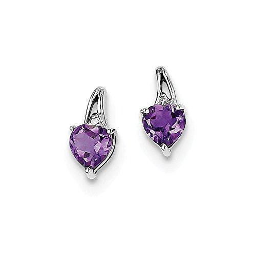 (Sterling Silver Diamond & Simulated Amethyst Heart Post Earrings (5mm x 10mm))
