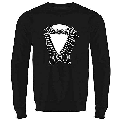 Jack The Pumpkin King Tuxedo Halloween Costume Black L Mens Fleece Crew Sweatshirt -