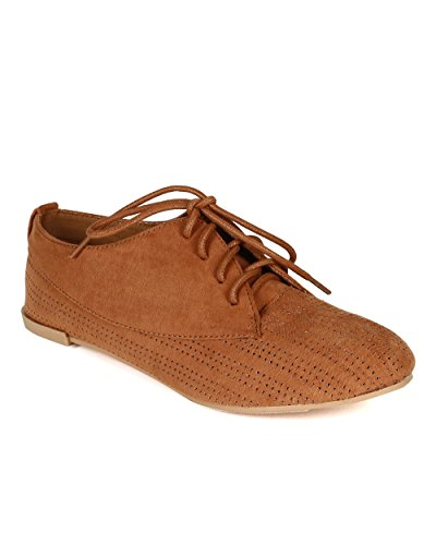 Toe Up Women Camel Round Lace Suede Qupid Flat Perforated Oxford CC42 O0w6SBqX