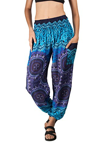 JOOP JOOP Bohemian Tapered Elephant Harem Loose Yoga Pants,Indigo,L/XL