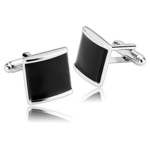 AnaZoz Jewelry Stainless Steel Mens 1 Pair Cufflinks Shirt Square Cube Sugar Black Men's Cuff Links