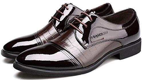 Jiye Hombres Crocodile Formal Dress Oxford Zapatos De Boda Marrón