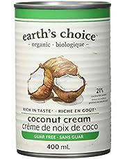 Earth's Choice - Organic Coconut Cream (21% Fat), Guar Gum Free, Gluten Free, Dairy Free, Lactose Free, Kosher, 400ml Single Can