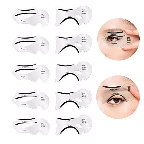 GL-Turelifes 10 PCS Eyeliner Stencil Cards Eye Liner Stickers for Perfect Smokey Eyes, Eyeliner Winged& Cat Eyes Makeup Tool, Reusable, Easy to Clean & Flexible