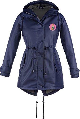 Friesennerz - Giacca Impermeabile Donna Marineblau Mit Separatem Logopatch In Pink