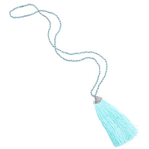 KELITCH Silver-Plated Beaded Chain Long Necklace with Tassel Pendant - Lake Blue