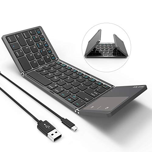 (Foldable Bluetooth Keyboard, Jelly Comb B003B Dual Mode USB Wired & Bluetooth Keyboard with Touchpad Rechargeable for Windows Android Tablet Smartphone Surface and More-Updated (Dark Gray))