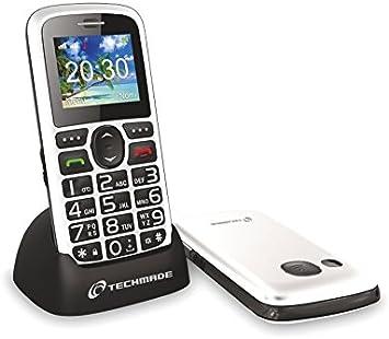 TM-C08BK Teléfono para ancianos TECHMADE botón sos y base de carga: Amazon.es: Electrónica
