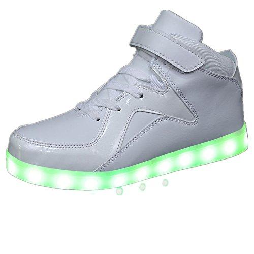Multi Color Luminous LED Shoes Women and Men Sneakers.?white 39/8 B(M) US Women / 6 D(M) US Men? -