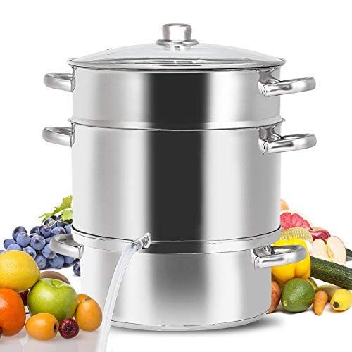 An Ideal choice for Your Home Use with High-quality and Brand New 11-Quart Fruit Juicer Steamer Made of Durable and Long-Lasting Stainless Steel and Aluminum