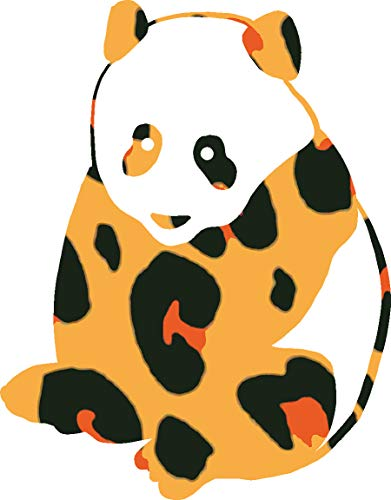 hBARSCI Panda Bear Vinyl Decal - 5 Inches - for Cars, Trucks, Windows, Laptops, Tablets, Outdoor-Grade 2.5mil Thick Vinyl - Leopard Print