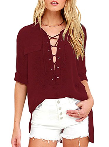 Sidefeel Sleeve Collared Lace up Blouse