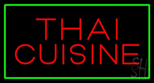 Thai Cuisine Rectangle Green Outdoor Neon Sign 20'' Tall x 37'' Wide x 3.5'' Deep by The Sign Store