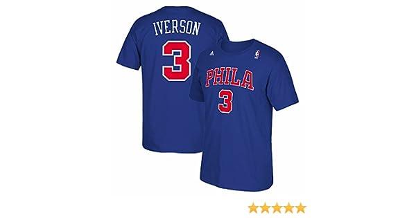 1450eaf578e Amazon.com : Philadelphia 76ers Sixers Adidas Allen Iverson Throwback Blue  PHILA T Shirt (Small) : Sports & Outdoors