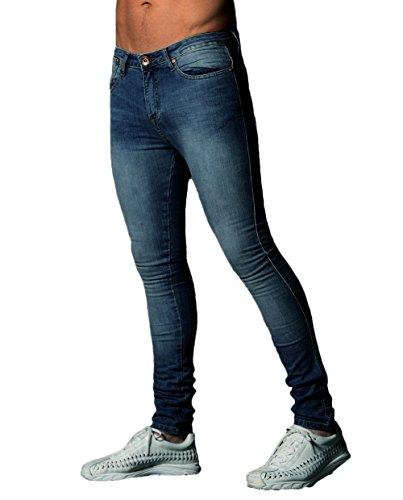 XARAZA Men's Skinny Slim Fit Stretch Jeans Denim Pencil Pants (Dark Blue, US 29)