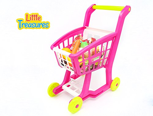 Pretend play home shopping cart from Little Treasures – Complete with grocery cart and fresh and non-perishable food – 27 accessories included in this toy play set for children 3+ (Perishable Gifts)