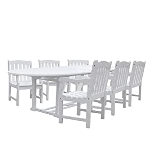 Vifah V1335SET3 Bradley Oval Extension Table and Armchair Outdoor Wood Dining Set