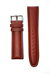 18mm Tan Oil-Tanned Italian Leather Watchband with Matching Lining and Heavy S/S Buckle