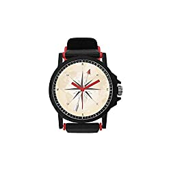 Compass Decor Unisex Strap Plastic Watch,Compass Rose with Metal Arrow on Vintage Grungy Background Travel Navigation Art for Daily,Diameter(Watch face): 1.5