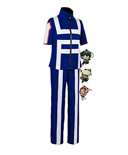 ZeroGoo Bnha Mha My Hero Academia Cosplay UA Gymnastics Uniform Costume,with 3 Pack Deku Izuku Bakugou Uraraka Keychains (XL, Male)
