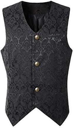 Vest Waistcoat Mens GREFER Punk Style Single Breasted Outwear Vintage Dress Vests 2Pockets 3Buttons Irregular Hem