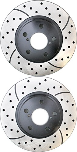 Prime Choice Auto Parts PR41061LR Front Drilled Slotted Performance Brake Rotors Pair