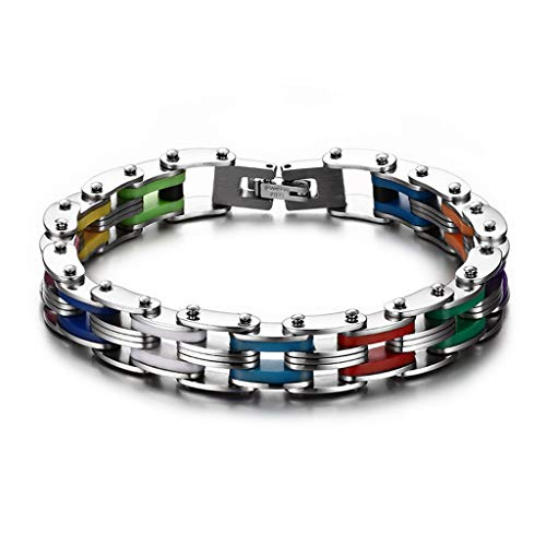 Simdoc Men's Cool Stainless Steel Colorful Rainbow Rubber Interwoven Bracelet Link Chain Wrist,Stainless Steel Silicone Motorcycle Bike Chain Hand Link Bracelet For -