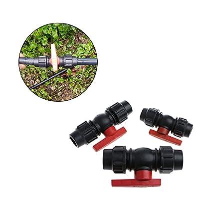 20 mm V/álvula de Tubo de Agua con Conector de V/álvula R/ápido LANDUM Accesorios Black+Red pl/ástico
