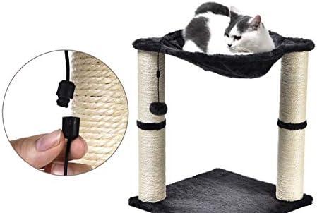 Torre en forma de árbol para gatos con cama tipo hamaca y poste rascador 4