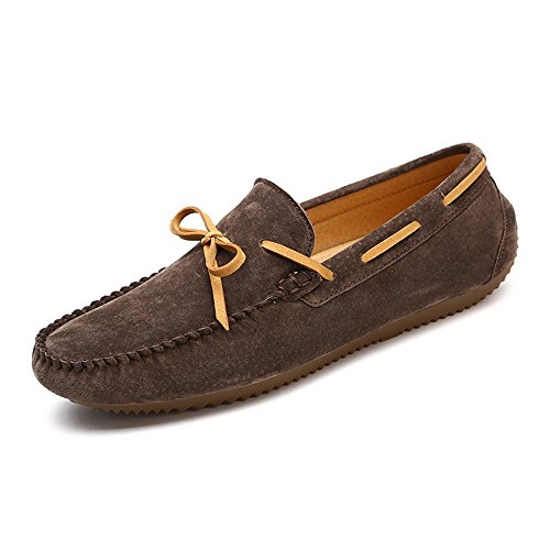 Dimensione da Leggero casual 40 donna Drive barca Mocassini piatta in Scarpe uomo Slip On Wider suola per Color con EU Mocassini Fitting Ofgcfbvxd glassati da Cachi Marrone pelle Scuro Sx1044