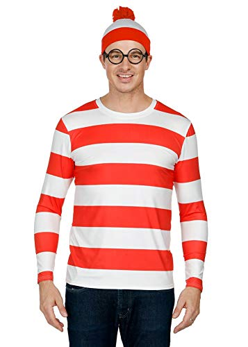 Men's Halloween Party Red and White Costume Wheres Waldo Top Cosplay Funny Striped Long Sleeve Shirt ()