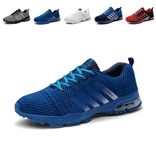 f2dd95e6b458 Unisex Sports Shoes Air Cushion Running Trainers Lace-up Sneakers Breathable  Walking Shoes Blue 8.5