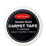 Pesinou Carpet Tape Double Sided Heavy Duty Anti Curling Rug Gripper Adhesive Step Stickers White Stair Tapes Removable Best No Slip Pad Roll Non Skid Underlay for Indoor and Outdoor Rugs, 2'' x 30Y