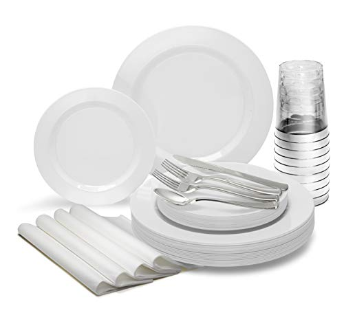 """"""" OCCASIONS"""" 200 Piece set (25 Guests)-Heavyweight Wedding Party Disposable Plastic Plate Set -25 x 10.5"""" + 25 x 7.5"""" +Silverware+Cups+linen like paper Napkins (Plain white plates)"""