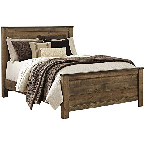 - BOWERY HILL Rustic Farmhouse Queen Wood Panel Bed in Brown, Complete Bed