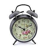 Konigswerk 4' Twin Bell Alarm Clock with Quartz Nightlight Battery Operated Loud Alarm Clock (Black Case - Roses)