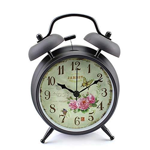 "Konigswerk 4"" Twin Bell Alarm Clock with Quartz Nightlight Battery Operated Loud Alarm Clock (Black Case - Roses)"