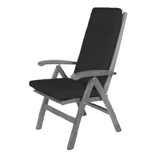Black Water Resistant Highback Chair Pad ONLY Outdoor Dining Gardenista