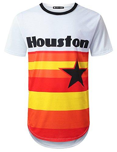 URBANTOPS Mens Hipster Hip Hop Houston Star Longline T-Shirt White, S by URBANTOPS