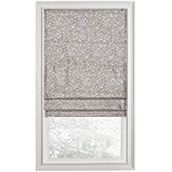 Regal Home Collections Premium Room Darkening Cordless Roman Shades - Assorted Sizes, Styles & Colors (Metallic Sparkle Gray, 28 in.)