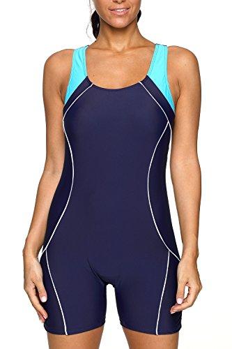 CharmLeaks Women Boyleg Water Aerobics Swimwear One Piece Shorts Swimsuit Navy L