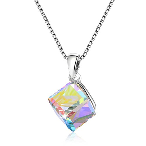 (Kesaplan White Pendants 7mm-Square Crystal, Choker With Allergen Free, Crystals From Swarovski)